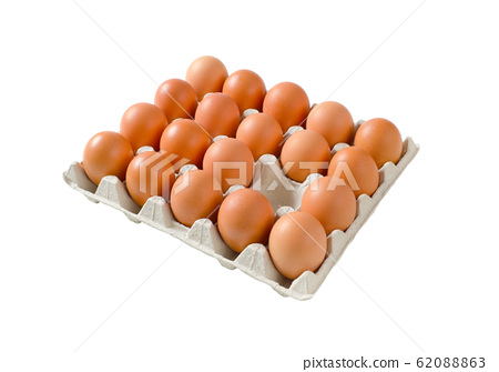 Fresh brown eggs in paper carton isolated on white 62088863