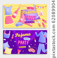Set of pajama party's invitation banners. 62089904