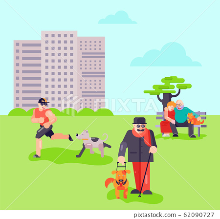Different people with dogs puppy outdoor in urban park vector illustration. Blind disabled man with cane and guide pet helper dog. City place for dog walking.