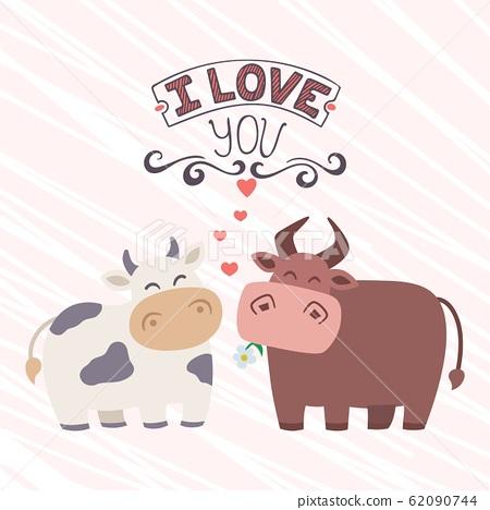 Funny Cartoon Animals Cow And Bull Vector Stock Illustration 62090744 Pixta