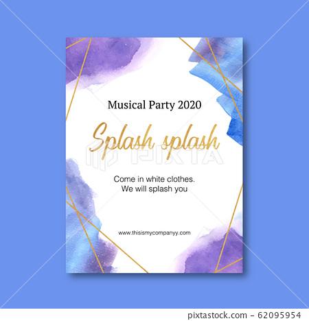 Splash color poster design with blue, purple 62095954