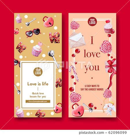 Love flyer design with cupcake, love light, gift 62096099