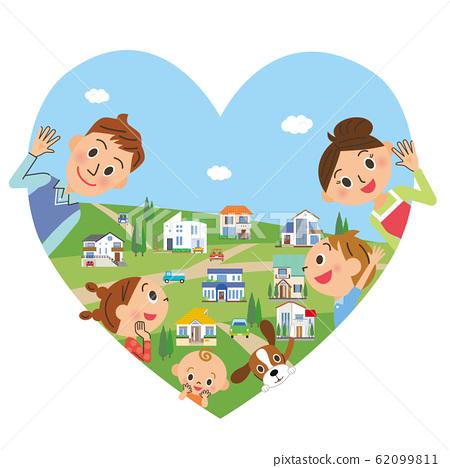 幸福的家庭和心城市景觀 62099811