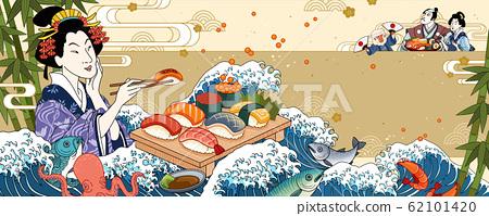 Ukiyo-e geisha eating sashimi 62101420