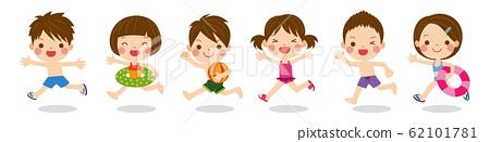 可愛的孩子們在泳裝夏天材料中運行的插圖 62101781