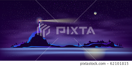 lighthouse at night in ultraviolet colors 62101815