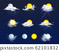 Weather forecast icons realistic set 62101832