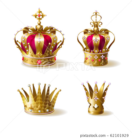 Royal family golden crowns realistic set 62101929