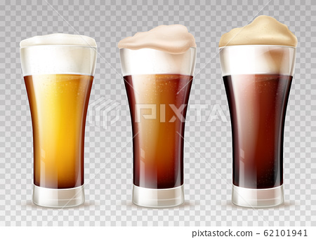 Beer types poured in glasses realistic 62101941