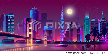 background with night city in neon lights 62102013