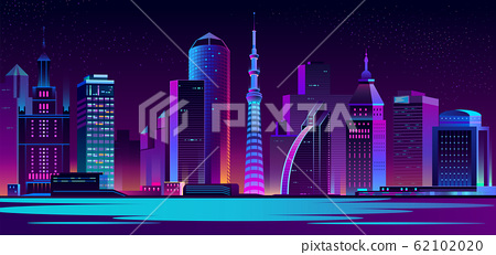neon megapolis background with buildings, skyscrapers 62102020