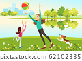 Mom and daughter with a dog playing ball at the lake in the Park. The concept of motherhood, the upbringing of the child. Vector illustration cartoon style. 62102335