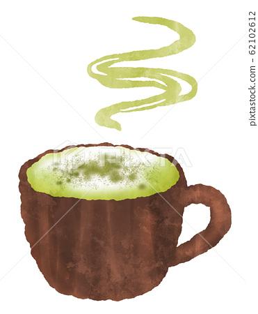 溫暖的抹茶拿鐵咖啡蒸汽水彩風格的插圖 62102612