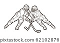 Group of Ice Hockey players action cartoon sport graphic vector. 62102876