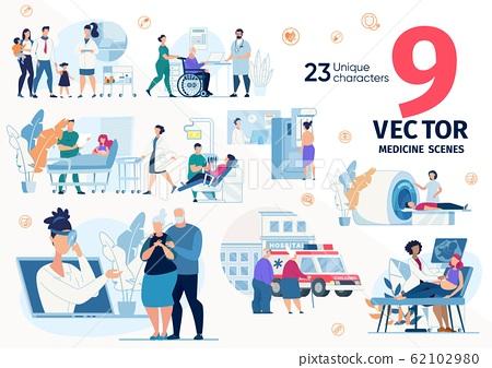 Clinic Services, Doctors Professions Vectors Set 62102980