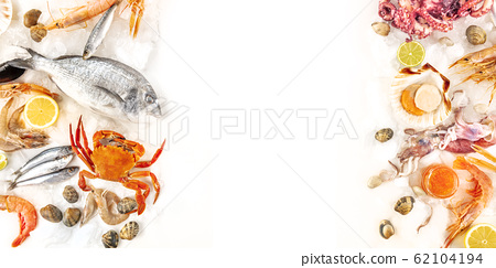 Fish and seafood panorama, a flat lay overhead shot with copy space on a white background. Fresh fish, shrimps and prawns, crab, squid, clams, etc, on ice, a design template 62104194