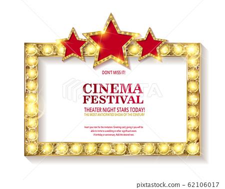 Cinema festival. Blank marque gold frame 62106017