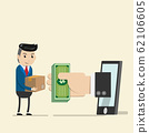 Shopping on online shop store concept. Money in hand pop up from the phone for trade with business man in suit as dealer with package for delivery. E-commerce technology with smart phone. vector ESP10 62106605
