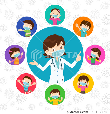 Doctor and kids wearing protective Medical mask 62107560