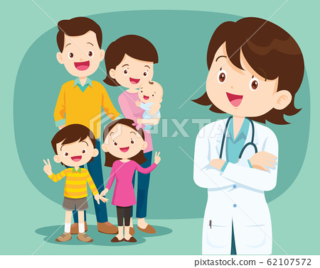 Smiling medical doctor and cute family2 62107572