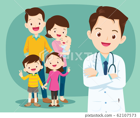 Smiling medical doctor and cute family 62107573