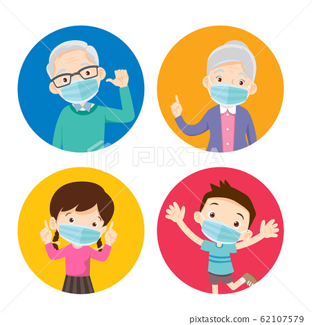 grandparents and children wearing a surgical mask 62107579