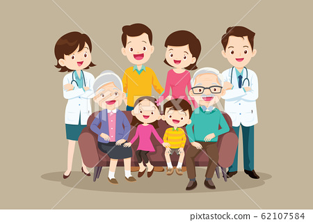 Doctor and happy bigfamily sitting on the sofa 62107584
