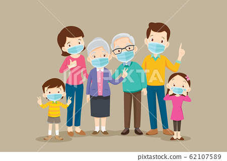 big family  wearing a surgical mask to prevent 62107589