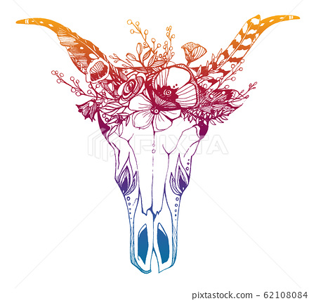Cow, buffalo, bull skull in tribal style with flowers. Bohemian, boho vector illustration. Wild and free ethnic gypsy symbol. 62108084