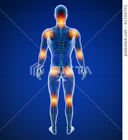 3d Illustration of front male joint pain 62108701