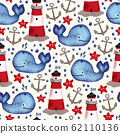 Whale lighthouse anchor sea star seamless pattern. Maritime repeating background hand drawn 62110136