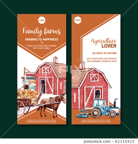 Farmer flyer design with warehouse, horse 62110425
