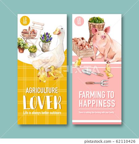 Farmer flyer design with flower, duck, vegetable 62110426