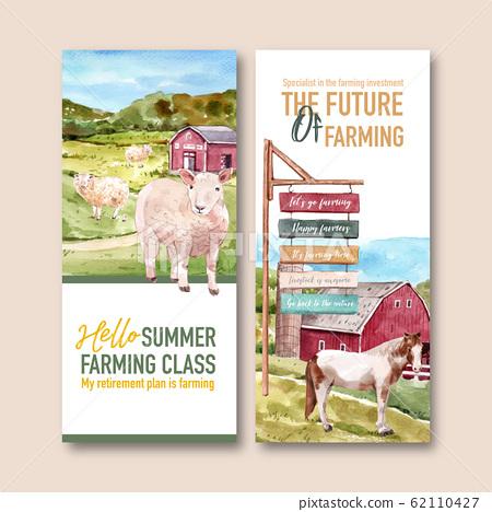 Farmer flyer design with sheep, horse watercolor 62110427