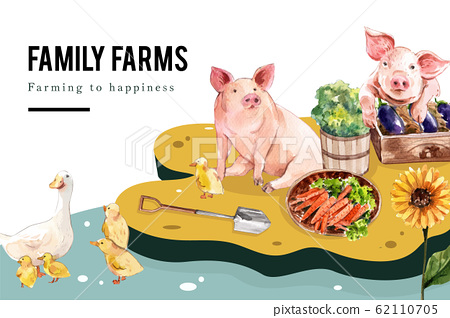 Farmer frame design with duck, pig, shovel 62110705
