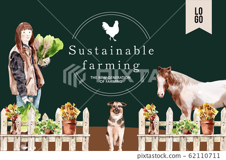 Farmer frame design with woman, wooden fence, 62110711