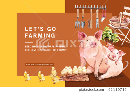 Farmer frame design with pig, chicken watercolor 62110712