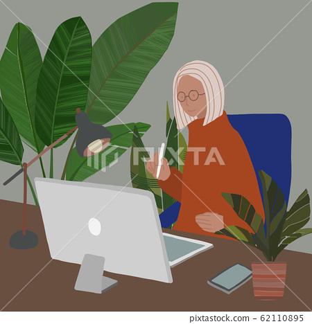 사무실 컴퓨터 관엽 식물 아틀리에 인물 있으며 A 62110895