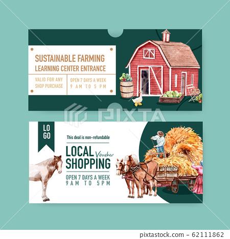 Farmer voucher design with warehouse, horse 62111862