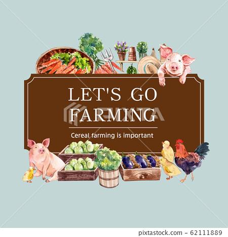 Farmer wreath design with carrot, eggplant, basket 62111889