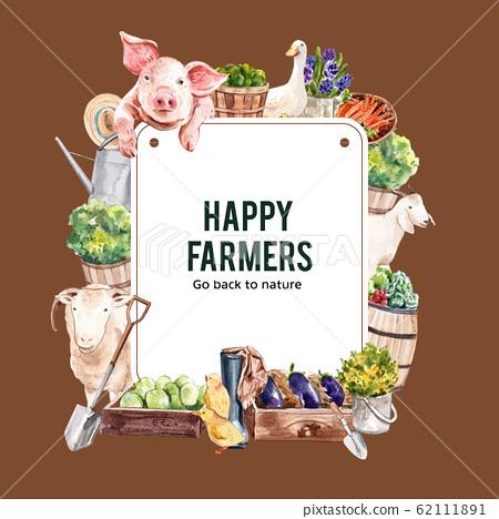 Farmer wreath design with pig, goat, sheep 62111891