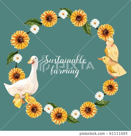 Farmer wreath design with daisy, duck, chicken  62111895