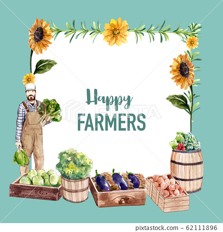Farmer wreath design with sunflower, onion, 62111896