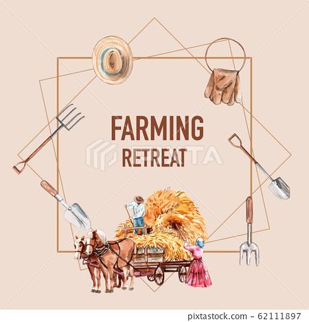Farmer wreath design with hat, glove,  watercolor 62111897