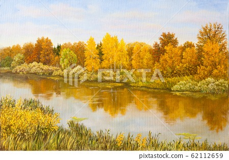 Rural landscape in Russia. Calm autumn river with reflection in water of cloudy sky and golden, orange, green grass and trees on coast. Hand drawn. Original oil painting on canvas. 62112659