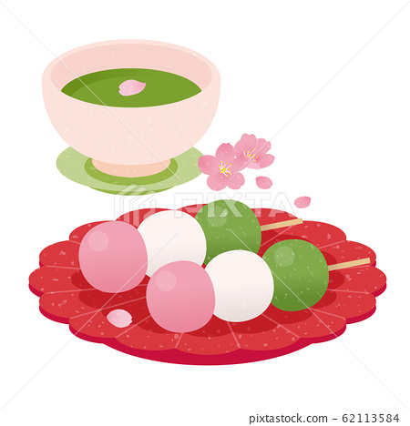 꽃놀이 경단과 차와 벚꽃 62113584
