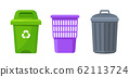 Trash container bin icon. Garbage can metal recycle basket box for trash waste symbol 62113724