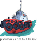 Red tugboat in green water. 62116342
