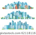 Isolated cityscape. City street, abstract urban and horizontal town landscape panorama cartoon vector illustration set 62118116