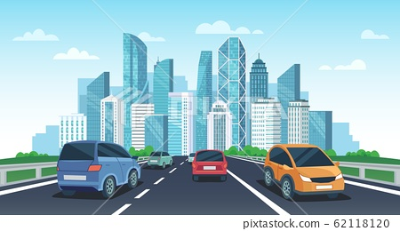 Cars on highway to town. City road perspective view, urban landscape with cars and car travel vector cartoon illustration 62118120